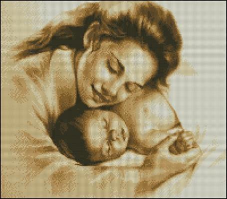 Схемы вышивки мать и дитя 027