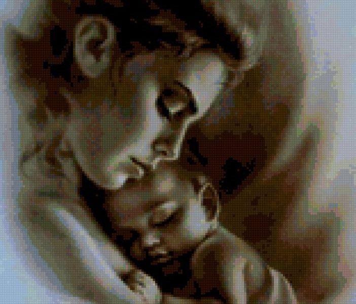 Схемы вышивки мать и дитя 030