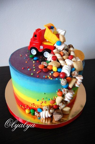 Торт грузовик с конфетами 006
