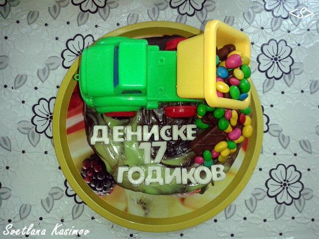 Торт грузовик с конфетами 021