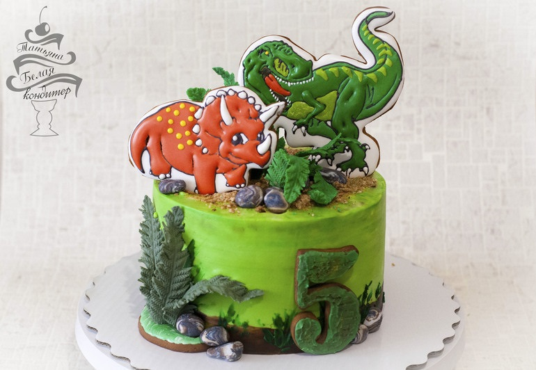 Фото тортик с динозаврами 010