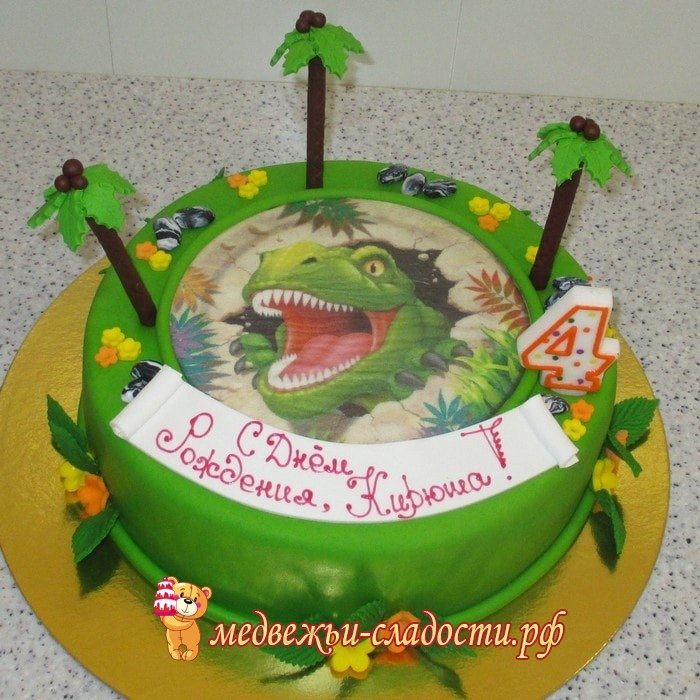 Фото тортик с динозаврами 015