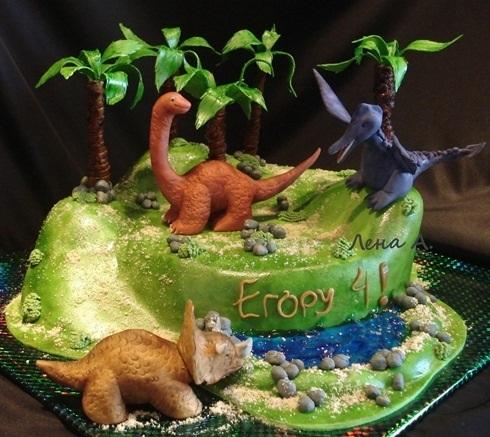 Фото тортик с динозаврами 022