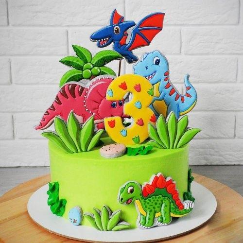 Фото тортик с динозаврами 025