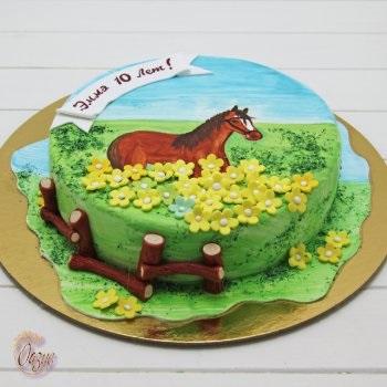 Фото торт с лошадками 009