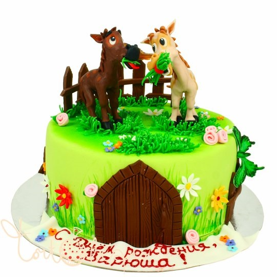 Фото торт с лошадками 029