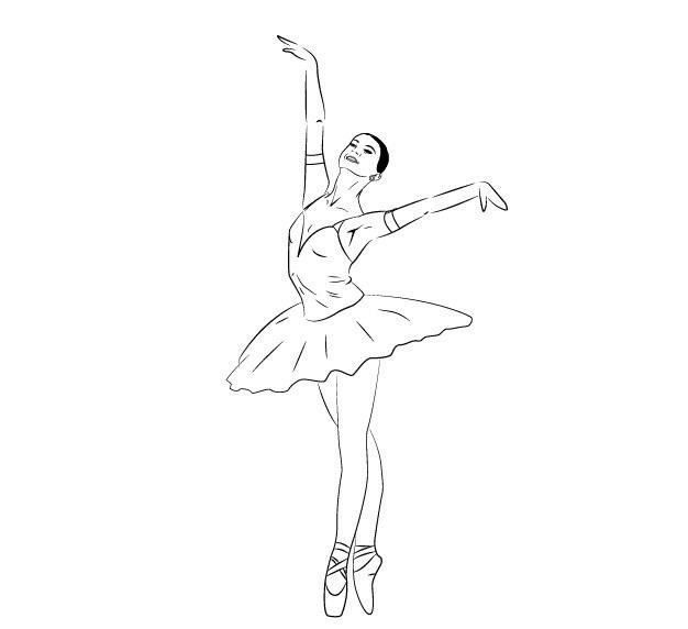Картинки балерин для срисовки 001