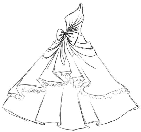 Картинки платьев для срисовки 001