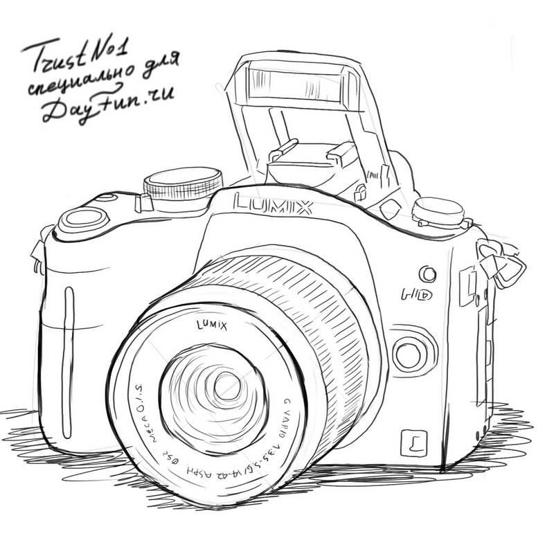 Рисунок фотоаппарата акварелью 001