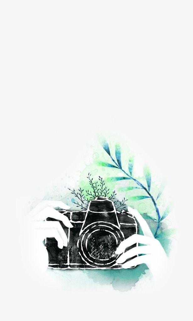 Рисунок фотоаппарата акварелью 002