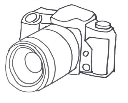 Рисунок фотоаппарата акварелью 003