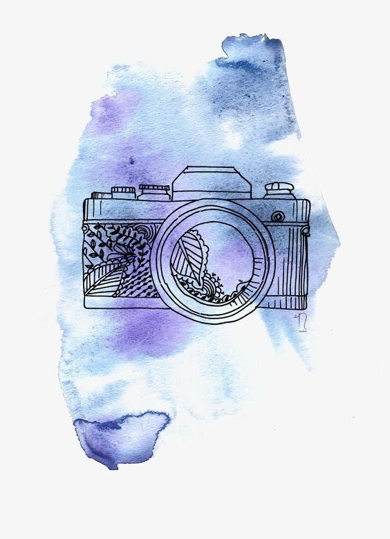 Рисунок фотоаппарата акварелью 004