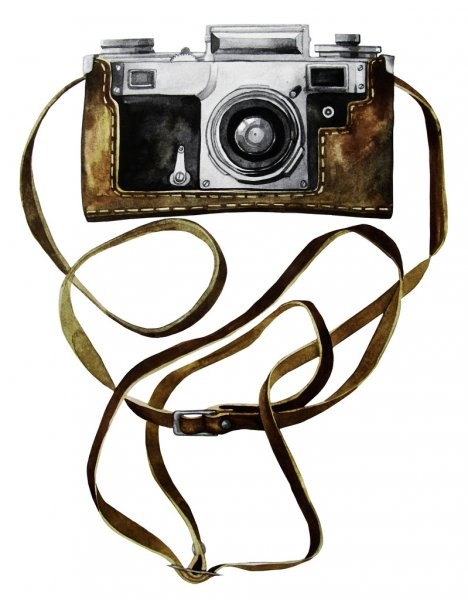 Рисунок фотоаппарата акварелью 005