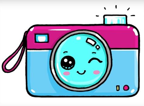 Рисунок фотоаппарата акварелью 006