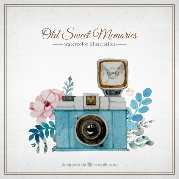 Рисунок фотоаппарата акварелью 007