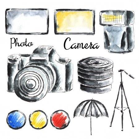 Рисунок фотоаппарата акварелью 008