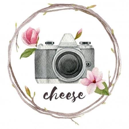 Рисунок фотоаппарата акварелью 012