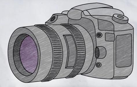 Рисунок фотоаппарата акварелью 014