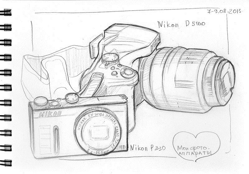 Рисунок фотоаппарата акварелью 015