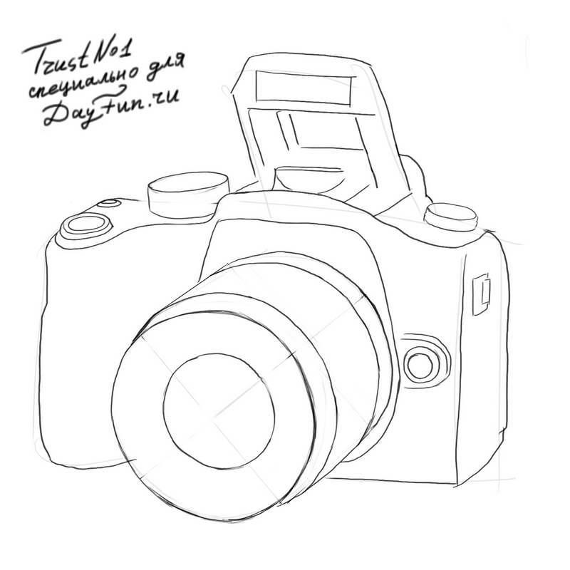 Рисунок фотоаппарата акварелью 016