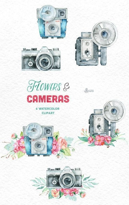 Рисунок фотоаппарата акварелью 018