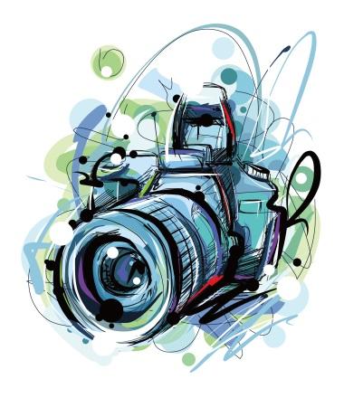 Рисунок фотоаппарата акварелью 019