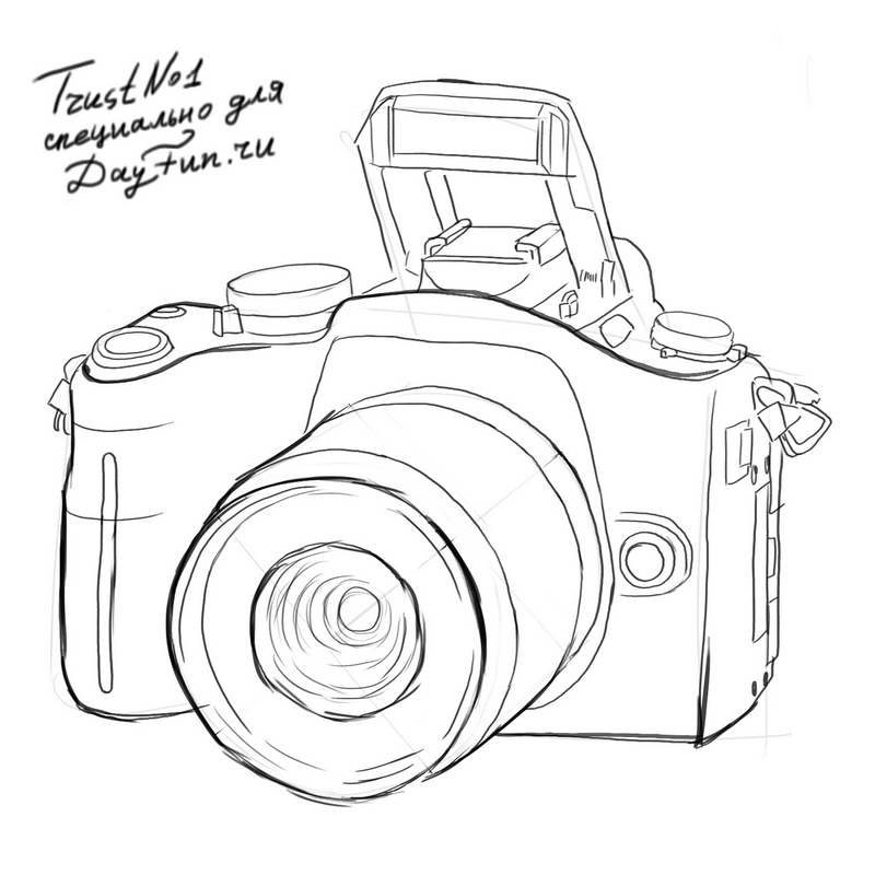 Рисунок фотоаппарата акварелью 022