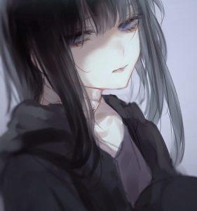 Арты по аниме с грустными девушками 027