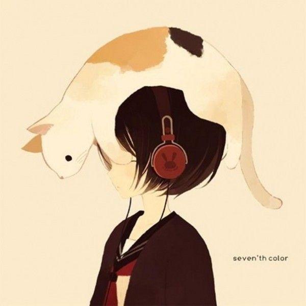Арт картинки аниме девушка с короткими волосами 001