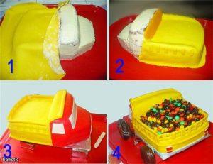 Вкусный торт грузовик с конфетами 028