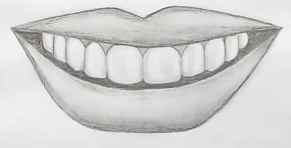 Интересные рисунки рот с зубами 001