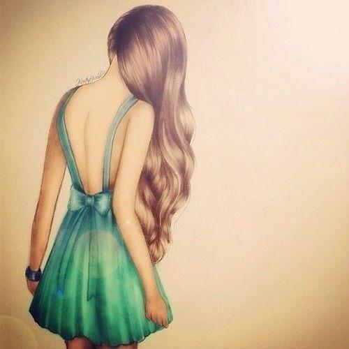 Красивые рисунки аниме девушек со спины 001