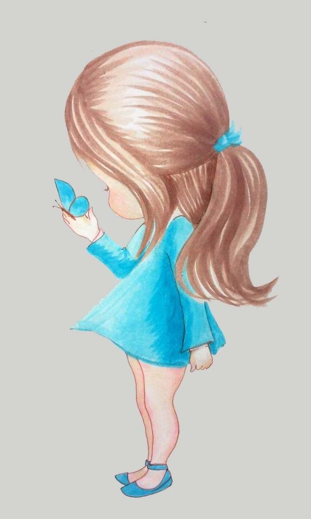 Рисунок девочка со спины