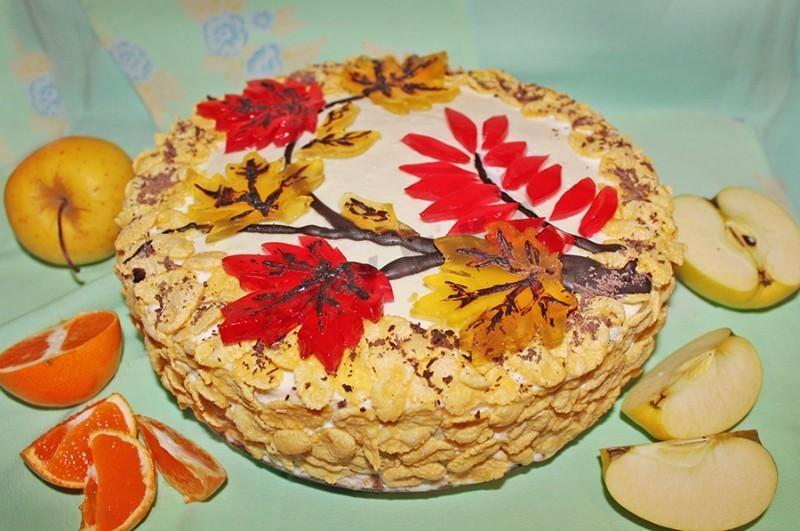 Красивый и вкусный торт в стиле осень 001