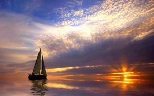 Красивый рисунок море и парусник 030