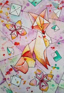 Необычный рисунок в стиле оригами 029