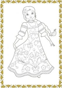 Прикольная раскраска девушка в кокошнике 019