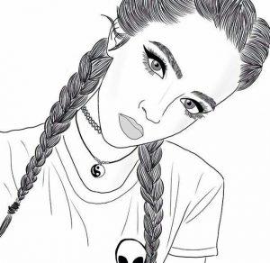 Рисунки девушек с красивыми прическами 028