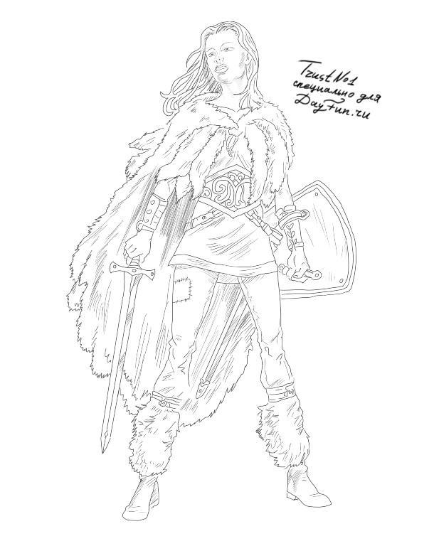 Рисунок карандашом девушка воин 001