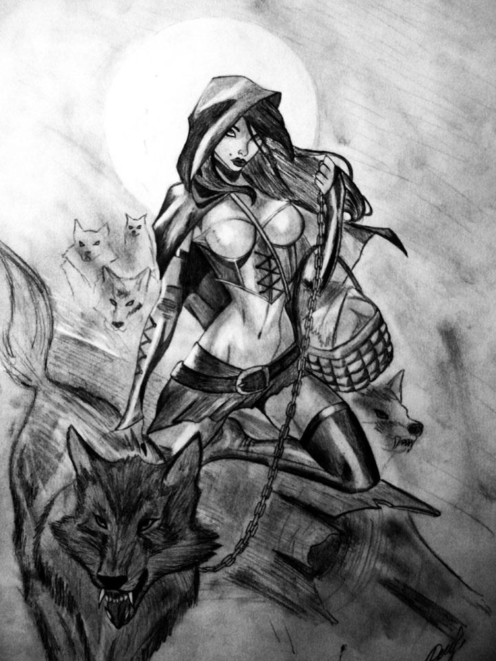 Рисунок карандашом девушка воин 003