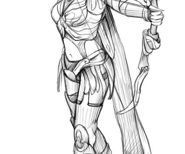 Рисунок карандашом девушка воин 004