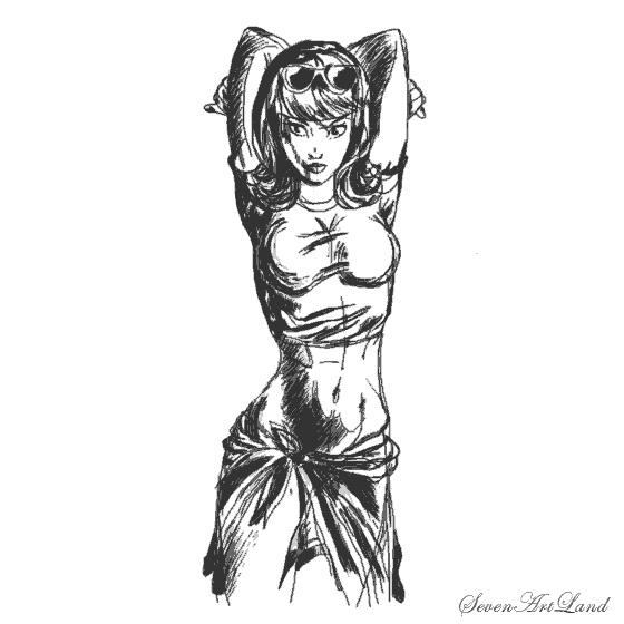 Рисунок карандашом девушка воин 007