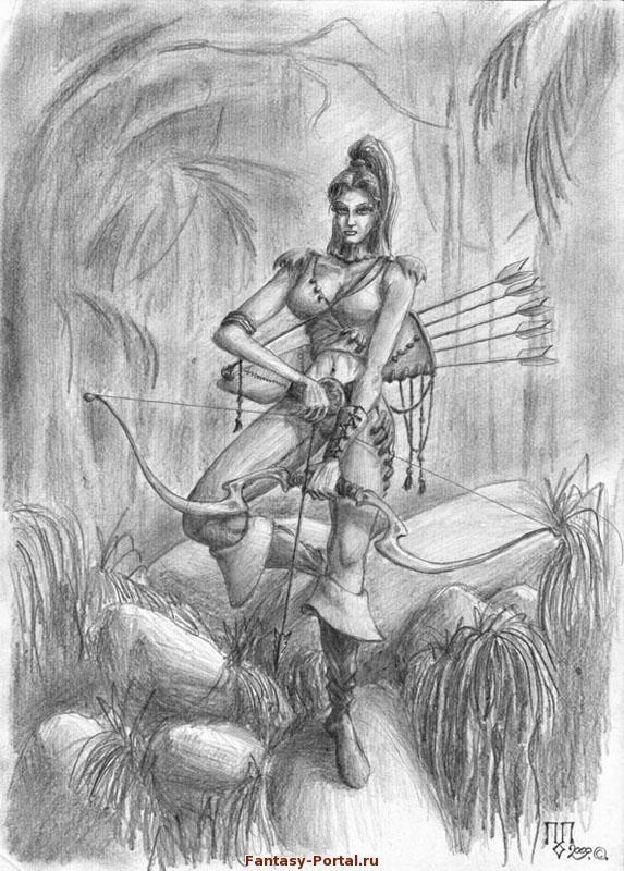 Рисунок карандашом девушка воин 008