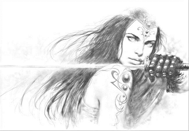 Рисунок карандашом девушка воин 009