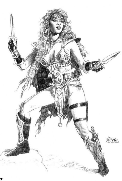 Рисунок карандашом девушка воин 011