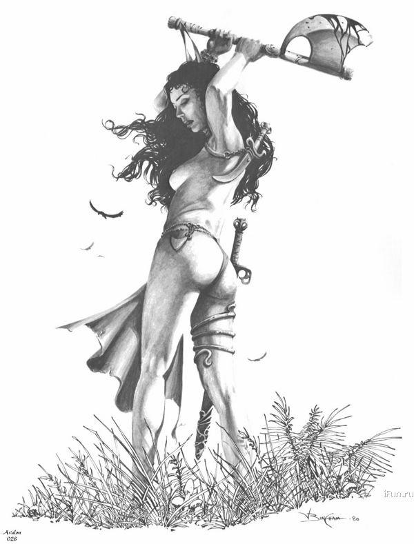 Рисунок карандашом девушка воин 012