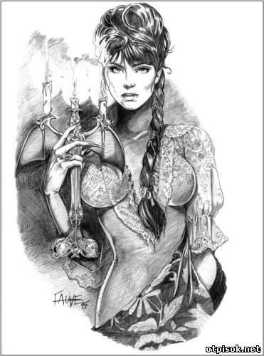 Рисунок карандашом девушка воин 014