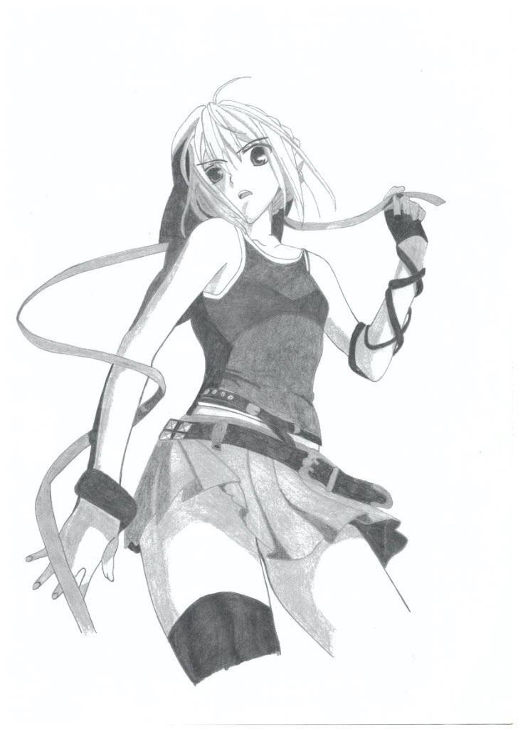 Рисунок карандашом девушка воин 017
