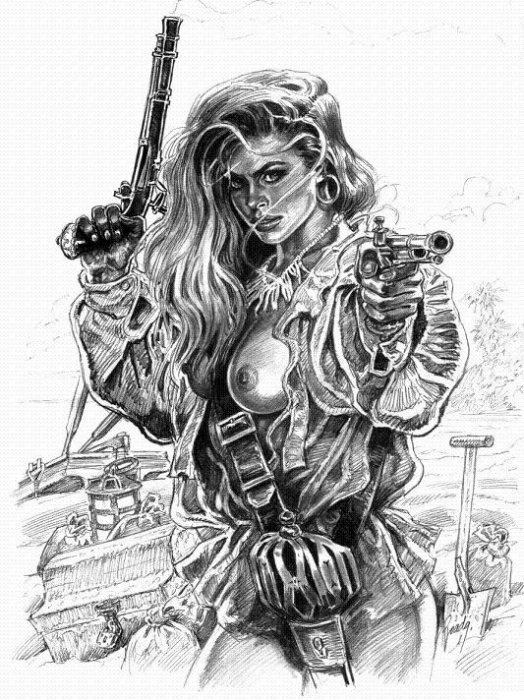 Рисунок карандашом девушка воин 018