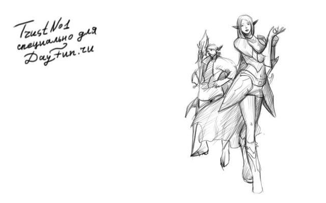 Рисунок карандашом девушка воин 020